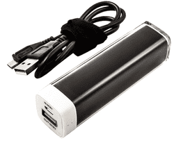 Powerbank LI-ION. 2200MAH. 8,2 WH. Sort med ladekabel